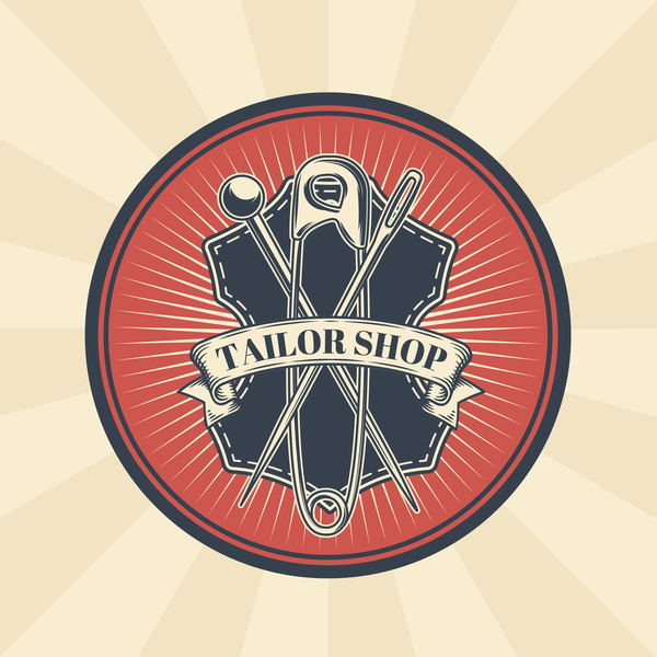 tailor shop badge retro vector 03
