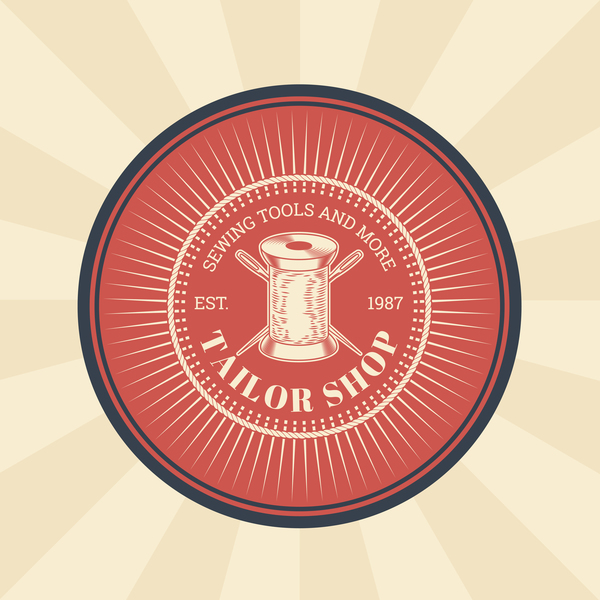 tailor shop badge retro vector 04