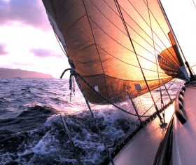 to sail through wind and waves Stock Photo