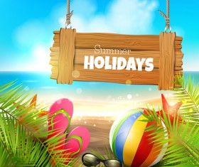 tropical paradise background with colorful sea sign vector