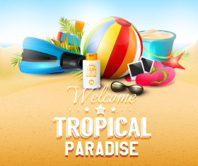 tropical paradise sand new vector background