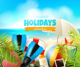 tropical  summer holiday beach with blue sky background vector