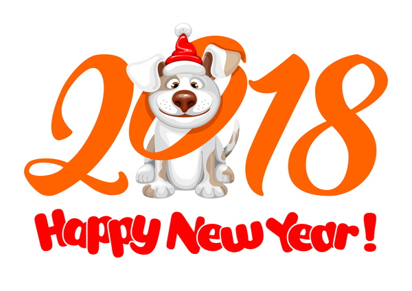 2018 happy year of dog vector material 01