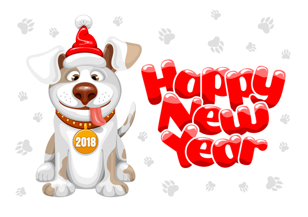 2018 happy year of dog vector material 02