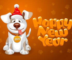 2018 happy year of dog vector material 03