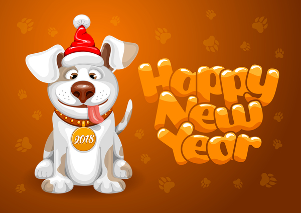 2018 Happy Year Of Dog Vector Material 03 Vector Animal