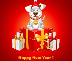 2018 happy year of dog vector material 04