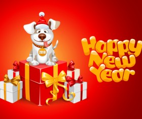 2018 happy year of dog vector material 05
