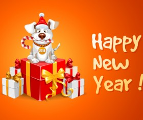 2018 happy year of dog vector material 06