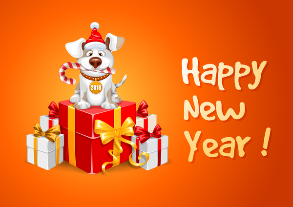 2018 Happy Year Of Dog Vector Material 06 Vector Animal