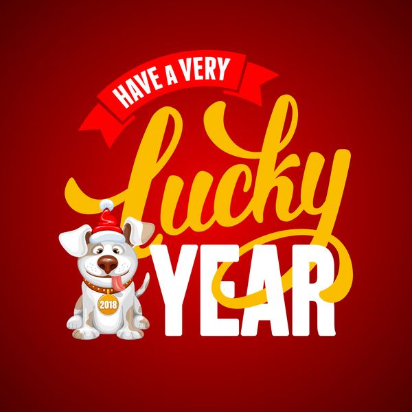 2018 happy year of dog vector material 07
