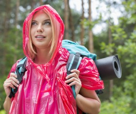 A hiker with a raincoat Stock Photo
