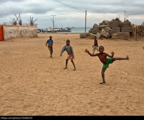 African children who play football Stock Photo
