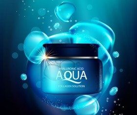 Aqua collagen solution poster template with blue background vector 02