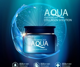 Aqua collagen solution poster template with blue background vector 04