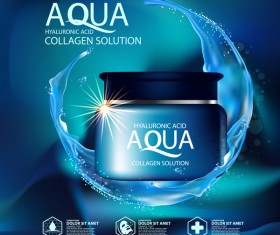 Aqua collagen solution poster template with blue background vector 05