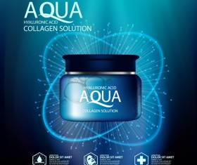 Aqua collagen solution poster template with blue background vector 06