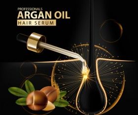 Argan oil hair serum poster vector 01