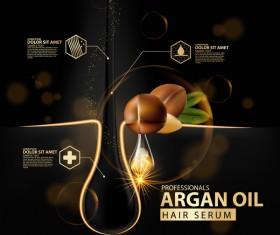 Argan oil hair serum poster vector 02