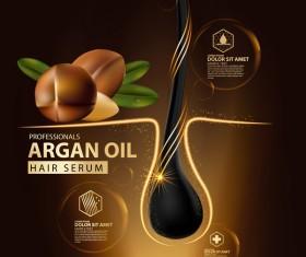 Argan oil hair serum poster vector 03