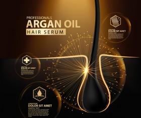 Argan oil hair serum poster vector 05