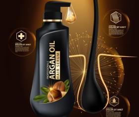 Argan oil hair serum poster vector 07