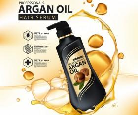Argan oil hair serum poster vector 09