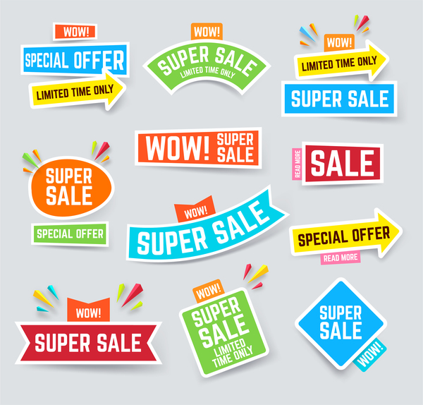 Arrow super sale sticker design vector 01