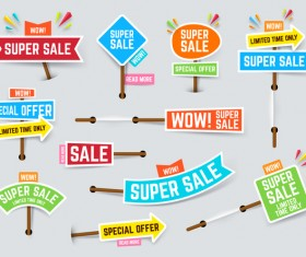 Arrow super sale sticker design vector 02