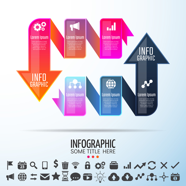 Arrow with ribbon infographic template vector 04