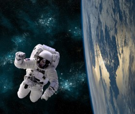 Astronauts spacewalk Stock Photo 02