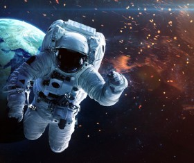 Astronauts spacewalk Stock Photo 04