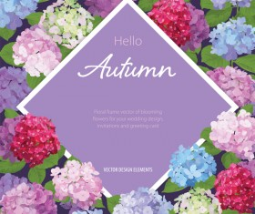 Autumn flower cards template vector 02