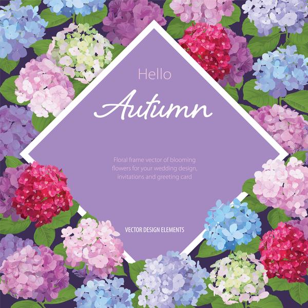 Autumn flower cards template vector 02