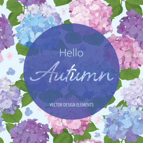 Autumn flower cards template vector 03