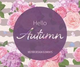 Autumn flower cards template vector 04