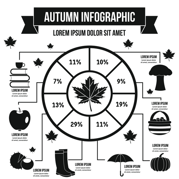 Autumn infographic design vector