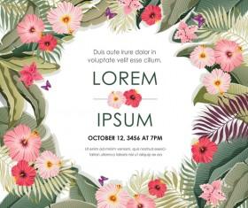 Autumn invitation card template with flower vector 01