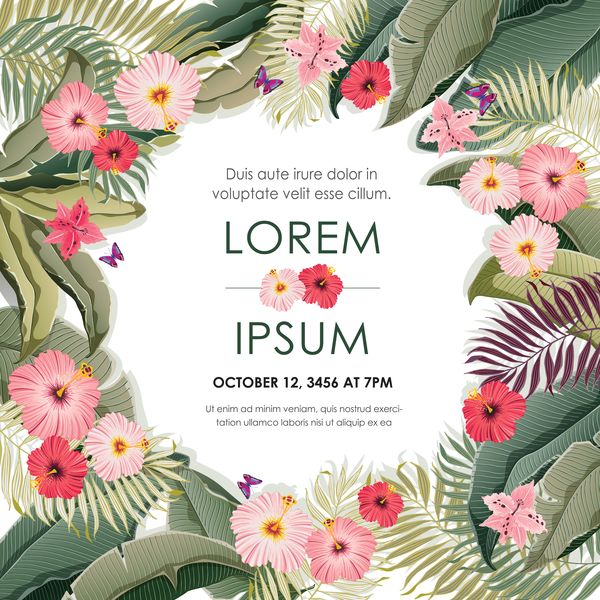 Autumn invitation card template with flower vector 01 Vector Card Vector Flower free download