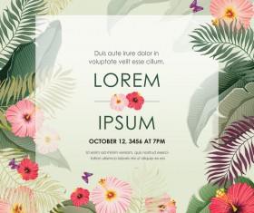 Autumn invitation card template with flower vector 02