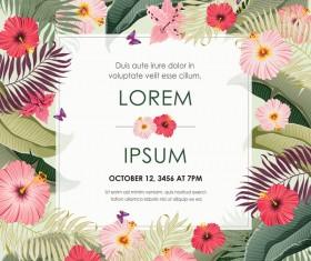 Autumn invitation card template with flower vector 04
