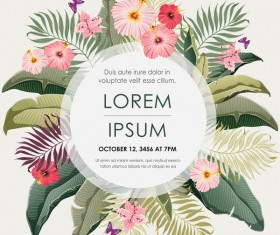 Autumn invitation card template with flower vector 05