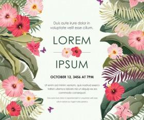 Autumn invitation card template with flower vector 06