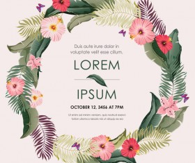 Autumn invitation card template with flower vector 08