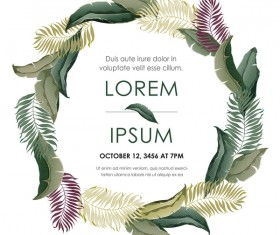Autumn invitation card template with flower vector 09