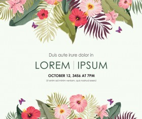 Autumn invitation card template with flower vector 10