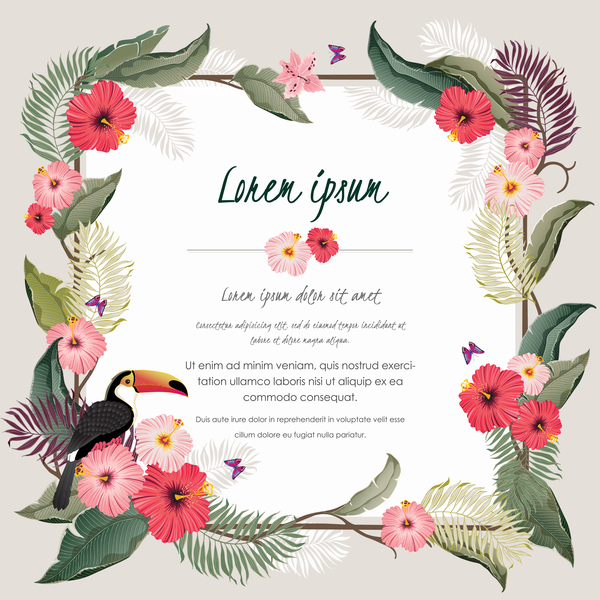 Autumn Invitation Card Template With Flower Vector 12