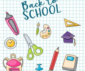 Back to school background and stationery vector