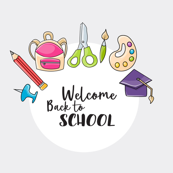 Back to school circle background vector