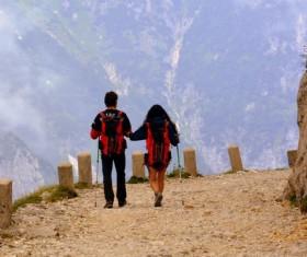 Backpackers hiking Stock Photo
